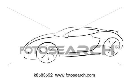 Clipart Of Sport Car Silhouette K8583592 Search Clip Art