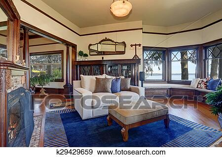 Styled Living Room With Royal Blue Rug