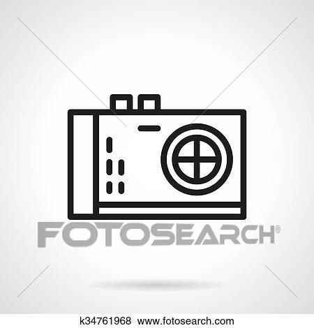 Camera Foto Pretas Linha Desenho Vetorial Icone Clipart