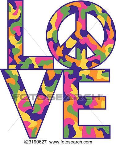 Clipart camo love peace dans retro couleurs k23190627 recherchez des cliparts des - Dessin peace and love ...