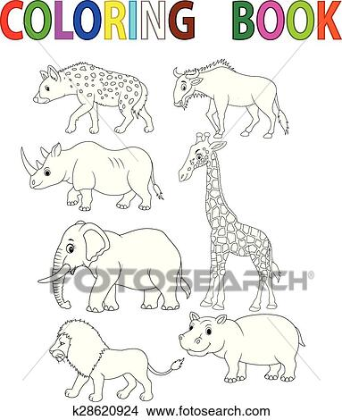 Clipart of Cartoon Dinosaur coloring book k28620924 - Search Clip ...