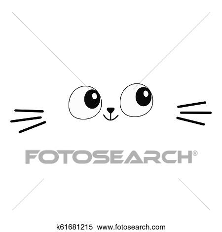 Cat Eyes Moustaches Head Face Silhouette Square Icon Contour Line Cute Cartoon Kitty Character Kawaii Animal Funny Baby Kitten Love Greeting Card Flat Design White Background Clipart K61681215 Fotosearch