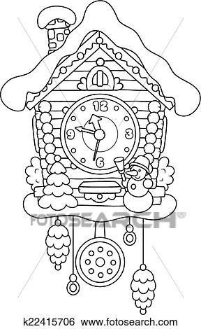 cuckoo clock clip k22415706 fotosearch