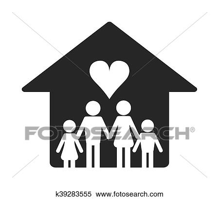 Family And House Pictogram Icon Clipart K39283555