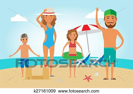 Clip Art Of Family Beach Vacation K27161009