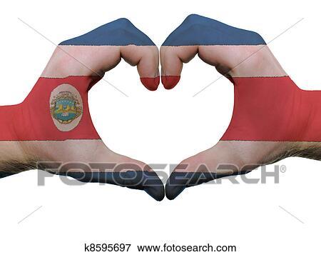 Foto - gesto, hecho, por, bandera costa rica, coloreado, manos ...