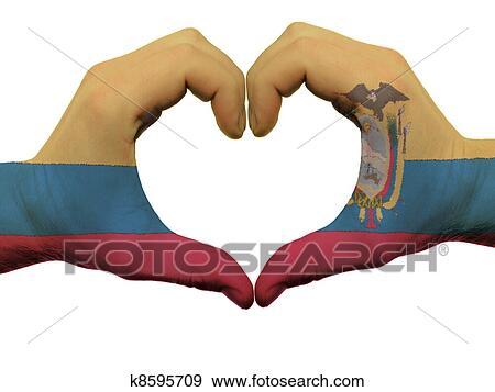 Colección de fotografía - gesto, hecho, por, bandera ecuador ...