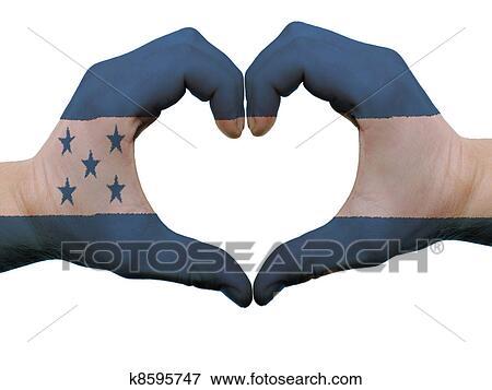 Foto - gesto, hecho, por, bandera honduras, coloreado, manos ...