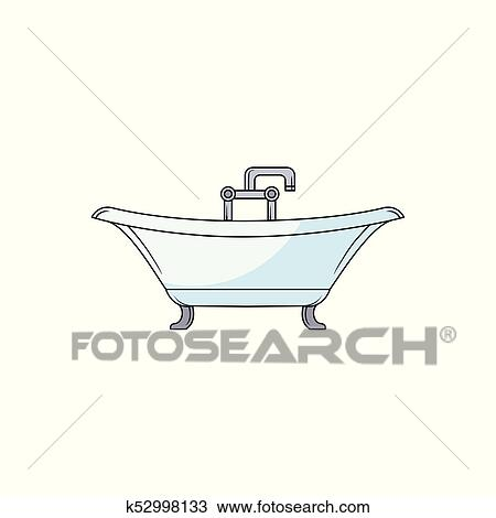 Hand Drawn Clawfoot Bathtub With Faucet And Douche Clipart K52998133 Fotosearch