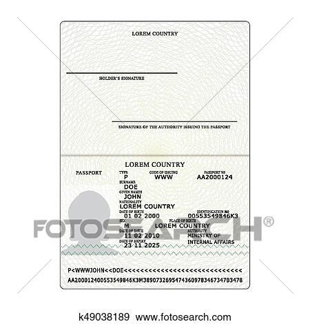 International Passport Vector  Opened Passport Page Blank Template   Identification Document  Business, Tourism Concept  Clip Art