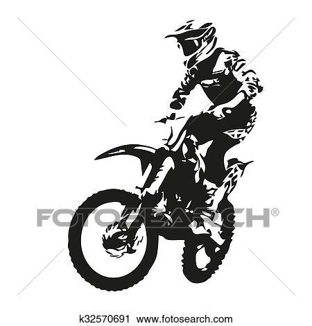 clipart of motocross rider vector silhouette k32570691 search rh fotosearch com motocross clip art free vector motocross helmet clipart