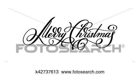 Clipart noir blanc main lettrage inscription joyeux - Joyeux noel noir et blanc ...