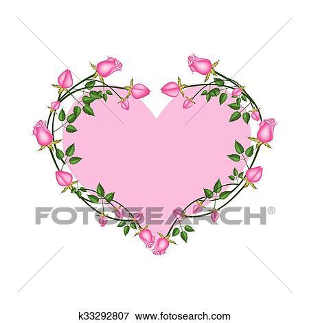 Clipart Roses Roses Fleurs Dans A Forme Coeur K33292807