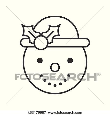Snowman Outline Icon Winter And Christmas Theme Clip Art K63179967 Fotosearch