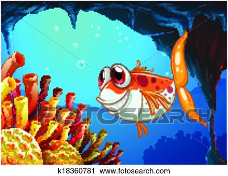 Clipart   A Smiling Fish Under The Sea Inside The Cave. Fotosearch   Search  Clip