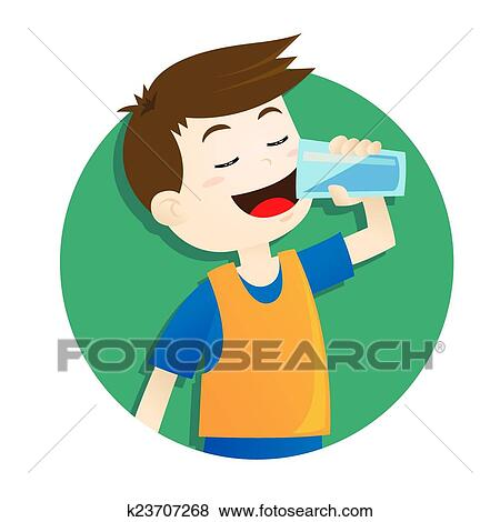 clip art of boy drinking water k23707268 search clipart rh fotosearch com drinking clipart images drinking clip art pics