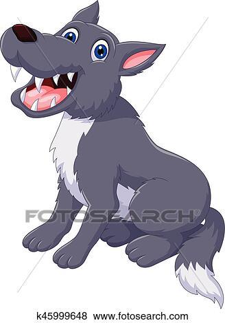 Carino lupo cartone animato proposta clip art k