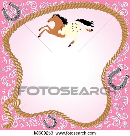 Cowgirl Party Invitation Clipart K8609253 Fotosearch