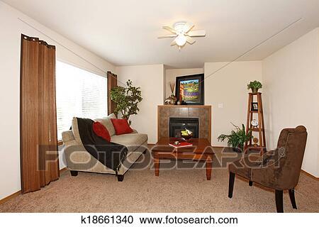 Openhaard In Woonkamer : Stock fotografie cozy woonkamer met een openhaard k18661340