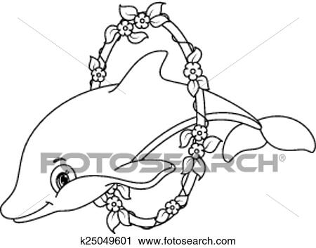 Dolphins coloring page Clipart
