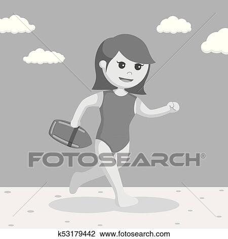 b68e7ebf5967 Clipart - Female lifeguard running to rescue. Fotosearch - Search Clip Art