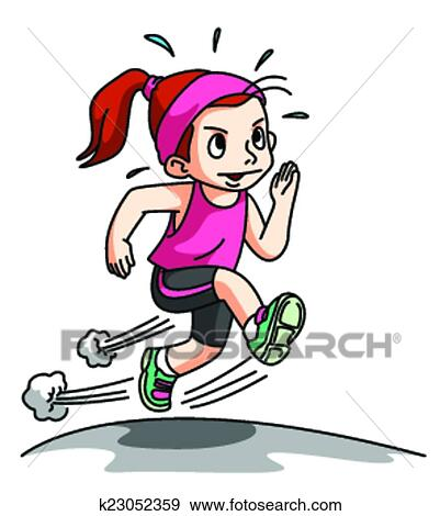 Girl Running Exercise isolated on w Clip Art | k23052359 ...