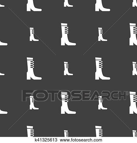 81511c65 Hembra, otoño, y, invierno, zapato, bota, icono, signo., seamless, patrón,  en, un, gris, fondo., vector, ilustración
