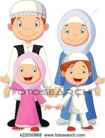 Clipart heureux musulman famille dessin anim - Dessin anime de la famille pirate ...
