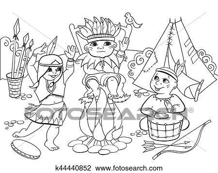 Clipart Indische Stamm In Dass Form Von Drei Kinder Färbung
