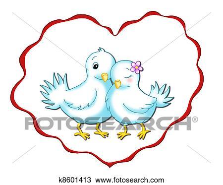 Disegno Romantico Colombe K8601413 Cerca Clipart Illustrazioni