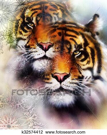 Clip Art Of Tiger Collage On Color Abstract Background And Mandala