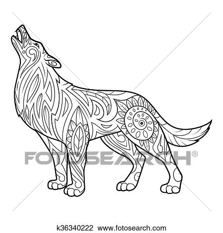 Wolf Coloring Book For Adults Vector Illustration Anti Stress Adult Zentangle Style Black And White Lines Lace Pattern