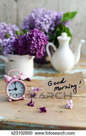 Stock Fotografie - zwei töne, lila, blumen, mit, guten morgen ...