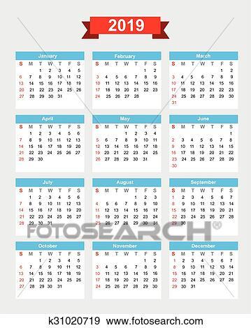 2019, calendario, settimana, inizio, domenica Clip Art ...