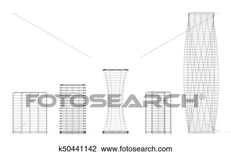 3d Office Buildings Wireframe Drawing K50441142 Fotosearch