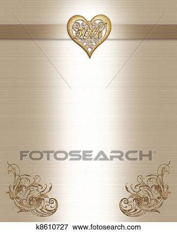50th Anniversary Invitation Gold Stock Illustration
