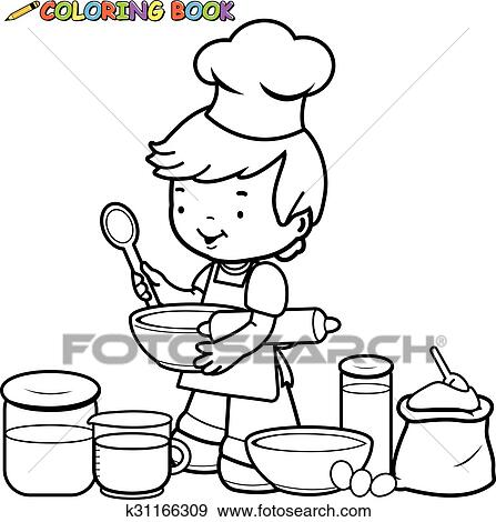 Boy Cooking Vector Black And White Coloring Page Clip Art K31166309 Fotosearch