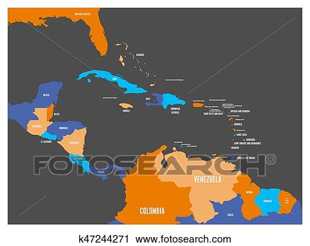 Central America and Carribean states political map with country names  labels. Simple flat vector illustration Clipart