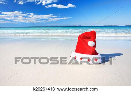 Christmas In Australia Santa.Christmas Santa Hat On Sunny Beach In Australia Stock Image