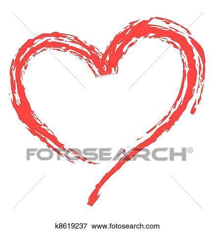 Clip Art Of Heart Shape For Love Symbols K8619237 Search Clipart