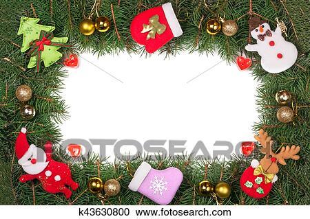 Colección de ilustraciones - navidad, marco, hecho, de, abeto, ramas ...
