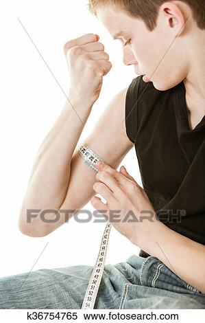 Colección de imágen - niño, doblar, bicep, y, medición, brazo ...