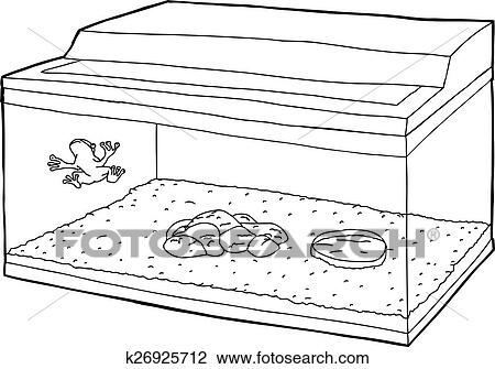 Outline Of Frog In Fish Tank Clipart K26925712 Fotosearch
