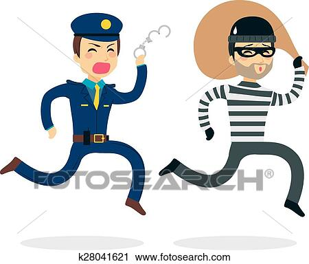 clipart of police chasing thief k28041621 search clip art rh fotosearch com theft clip art thief clipart