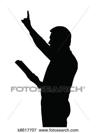 clip art of preacher teaching from bible with raised arm k8617707 rh fotosearch com preaching clip art free preacher clip art free