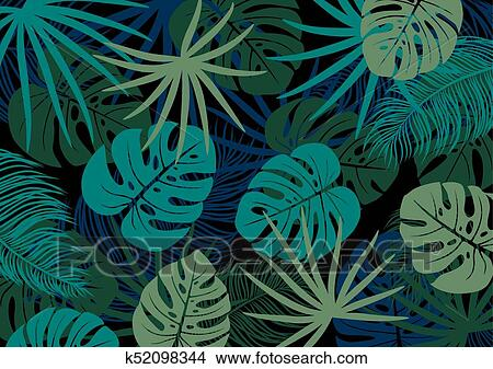 Tropical Leaves On Black Background Vector Illustration Clipart K52098344 Fotosearch All original artworks are the property of freevector.com. fotosearch