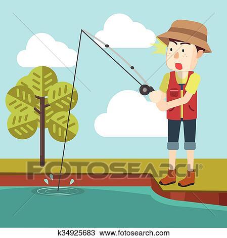 آسر Fish ب صنارة الصيد سمك Clipart K34925683 Fotosearch
