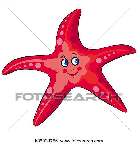 جذاب باسم رسم كاريكتوري نجم البحر Clip Art K35939766 Fotosearch