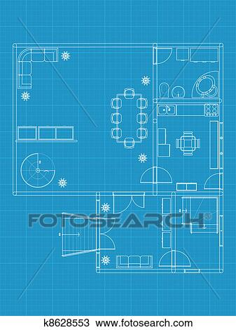 Clipart of building blueprint k8628553 search clip art clipart building blueprint fotosearch search clip art illustration murals drawings and malvernweather Images