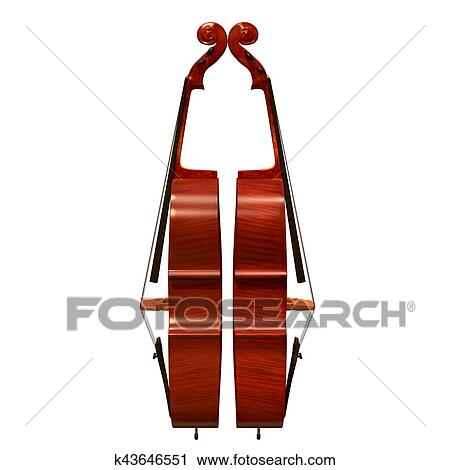 Cello Instrumento Musical 3d Ilustracao Clipart